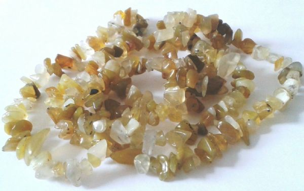 "36"" STRING OF YELLOW OPAL TUMBLE CHIP BEADS - drilled for bracelets"